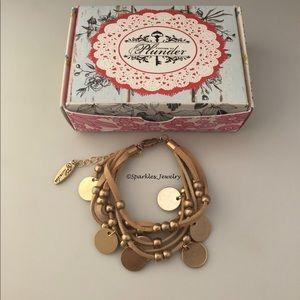 Plunder SCARLETT Bracelet Gold Beads/Circles Tan